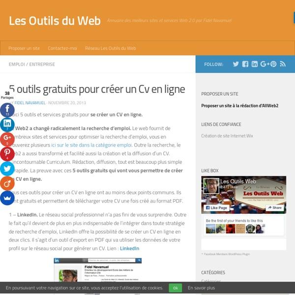 5 outils gratuits pour créer un Cv en ligne
