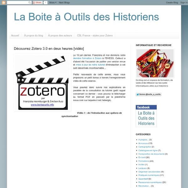 Découvrez Zotero 3.0 en deux heures [vidéo]