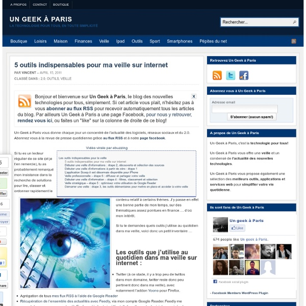 5 outils indispensables pour ma veille sur internet