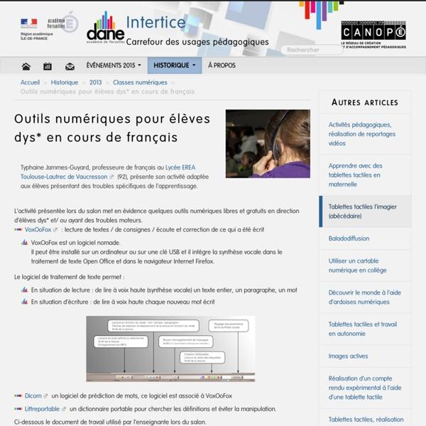 Outils numériques pour élèves dys* en cours de français