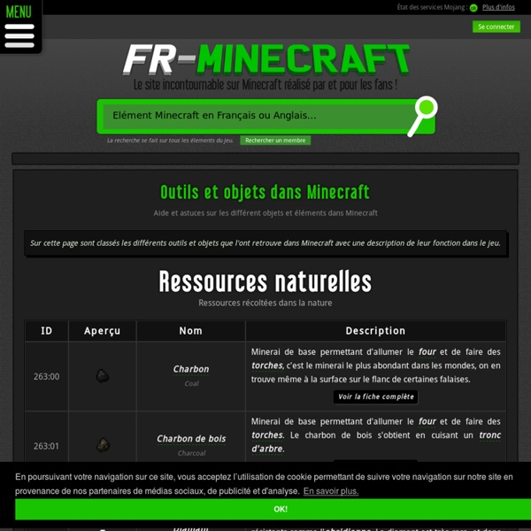 Outils et objets dans minecraft pearltrees - Outil minecraft ...