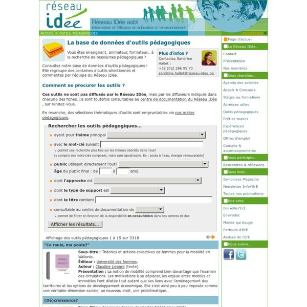Liste des outils pédagogiques