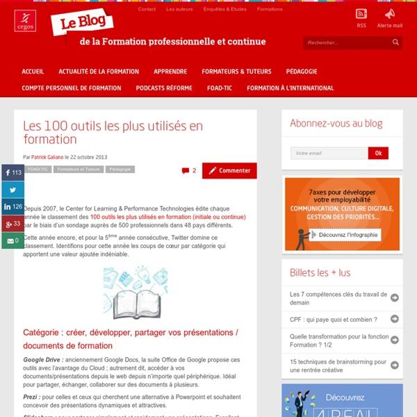 Les 100 outils les plus utilisés en formation - Le blog de la Formation professionnelle et continue