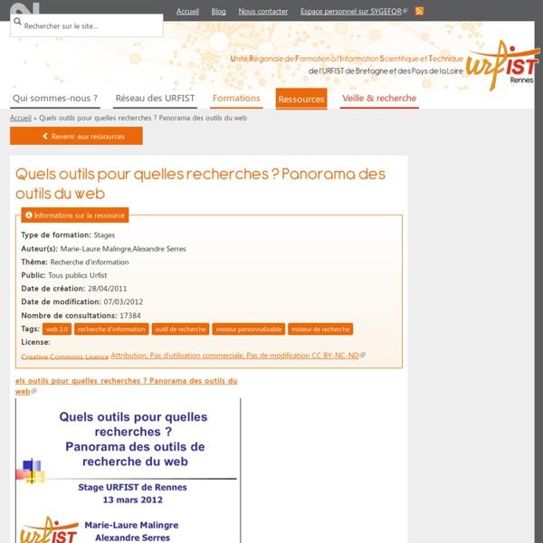 Quels outils pour quelles recherches ? Panorama des outils du web