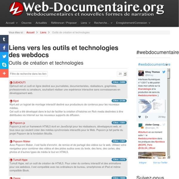 Liens vers les outils et technologies des webdocs