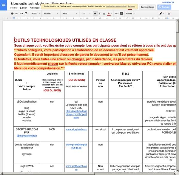 Les outils technologiques utilisés en classe