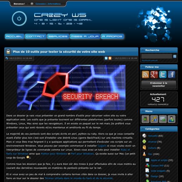 Cr@zy's Website - Plus de 10 outils pour tester la sécurité de votre site web