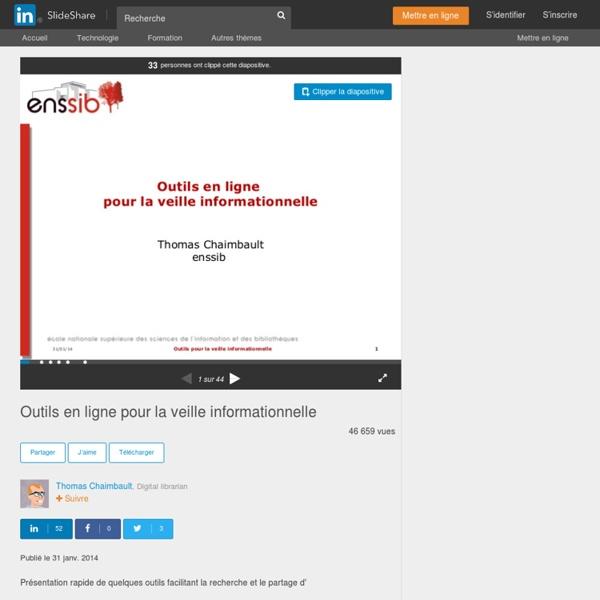 Outils en ligne pour la veille informationnelle