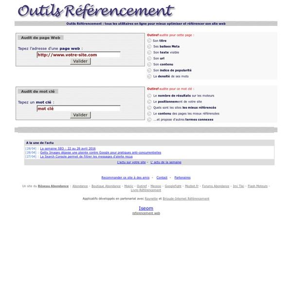 Outiref : Tous les utilitaires en ligne pour mieux référencer son site Web