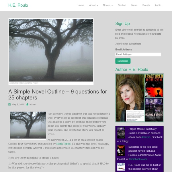 A Simple Novel Outline – 9 questions for 25 chapters « H.E. Roulo