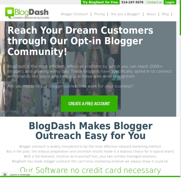 Blogger Outreach Program - Hire and Find Bloggers with BlogDash