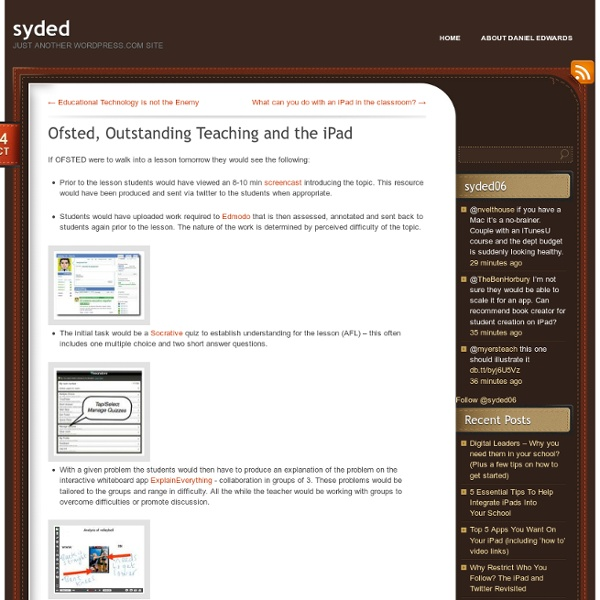 Ofsted, Outstanding Teaching and the iPad