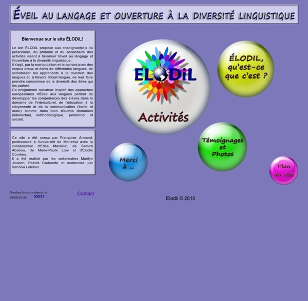 ELODIL - Éveil au langage et ouverture à la diversité linguistique