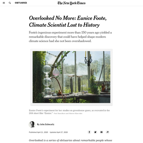 Overlooked No More: Eunice Foote, Climate Scientist Lost to History