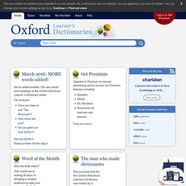 Find pronunciation, clear meanings and definitions of words at OxfordLearnersDictionaries.com