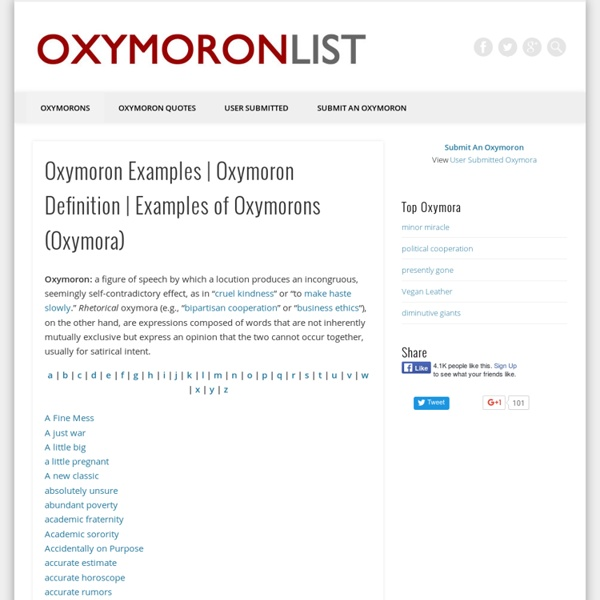 Oxymoron List Funny Examples Of Oxymorons Oxymora Pearltrees