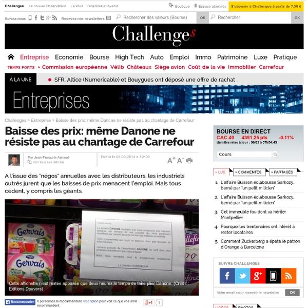 Baisse des prix: même Danone ne résiste pas au chantage de Carrefour