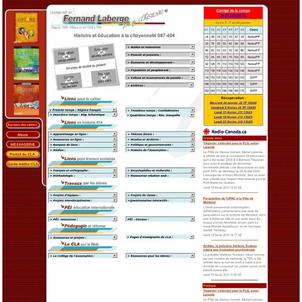 La page Web de Fernand Laberge, prof d'histoire
