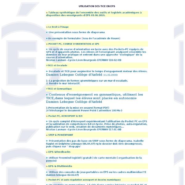 Utilisation des TICE pendant les cours d'EPS