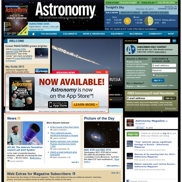 Interactive Star Charts, Planets, Meteors, Comets, Telescopes