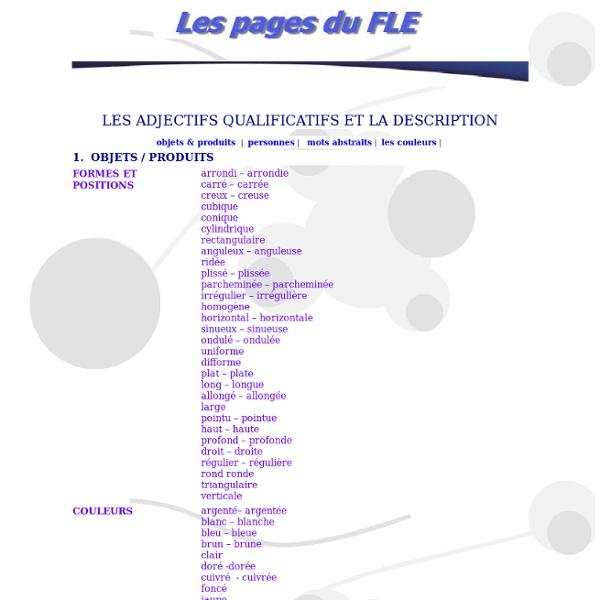 Pages du FLE - portrait physique et psychologique