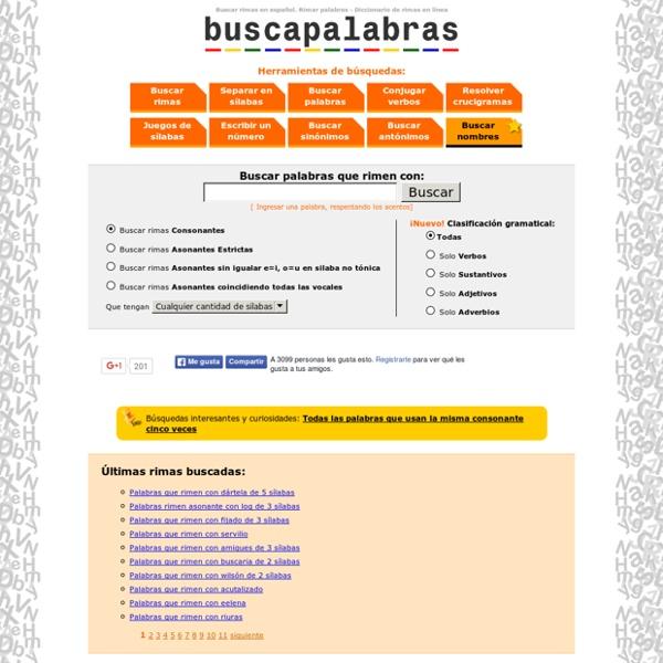 Rimas. Rimar palabras en español - Rimador - Diccionario de rimas en línea