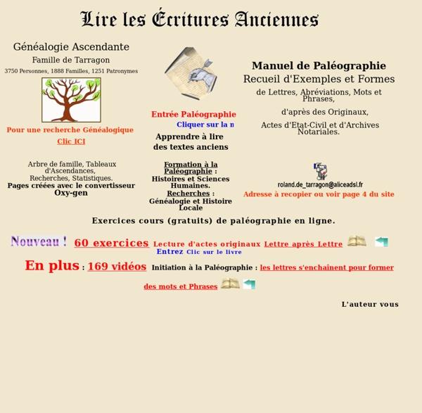 Genealogie Ecritures anciennes Paleographie Histoire Archeologie