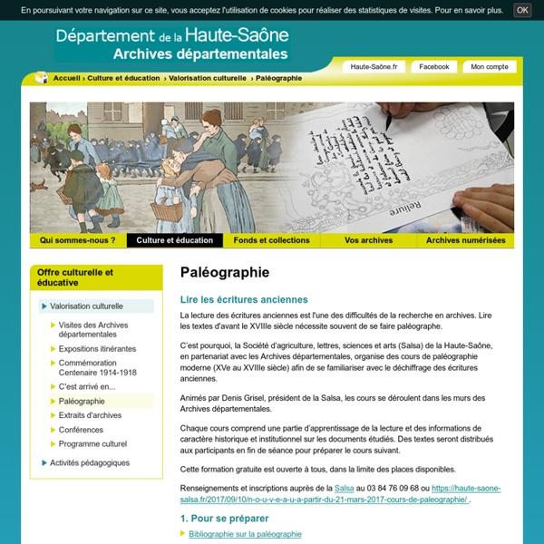 Paléographie - Archives départementales de la Haute-Saône