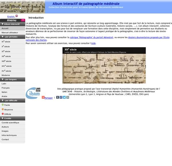 Album interactif de paléographie médiévale / Interactive Album of Mediaeval Palaeography