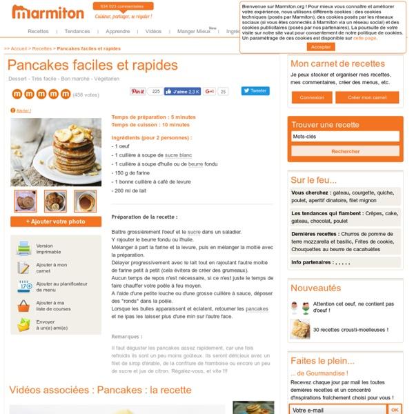Pancakes faciles et rapides : Recette de Pancakes faciles et rapides