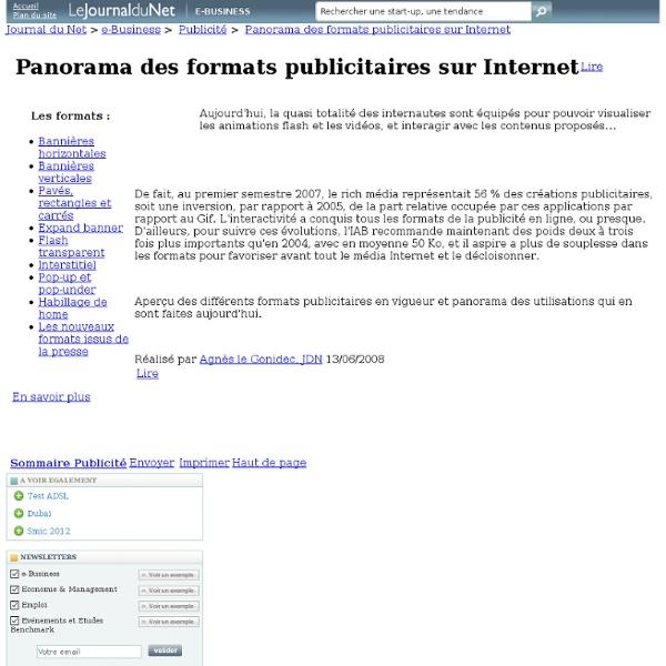 Panorama des formats publicitaires sur Internet