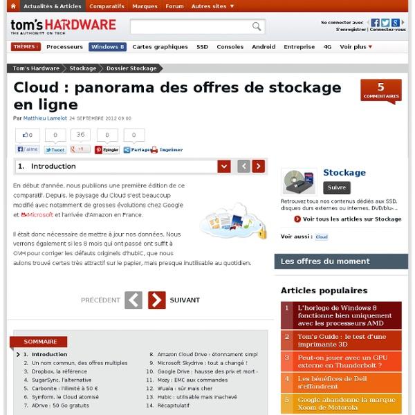 Cloud : panorama des offres de stockage en ligne : Introduction