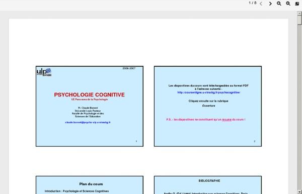 Psychologie cognitive - Cours en ligne