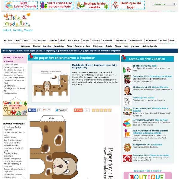 Un paper toy chien marron à imprimer sur Tête à modeler
