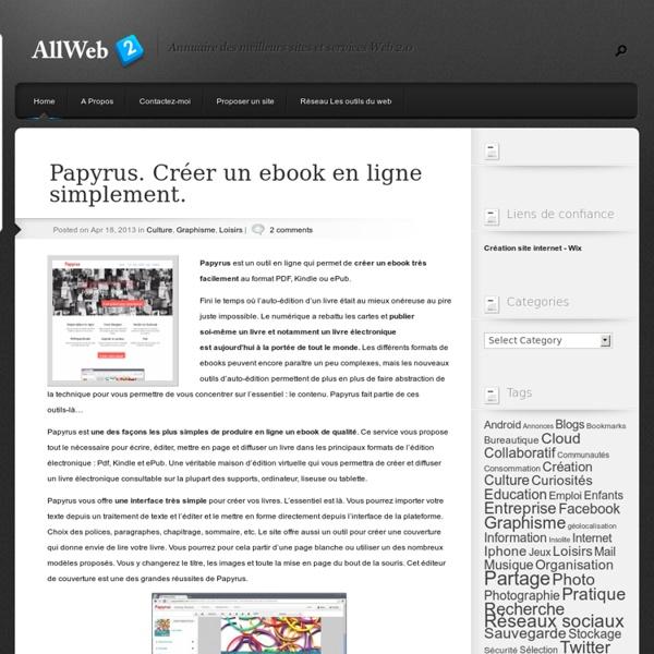 Papyrus. Créer un ebook en ligne simplement