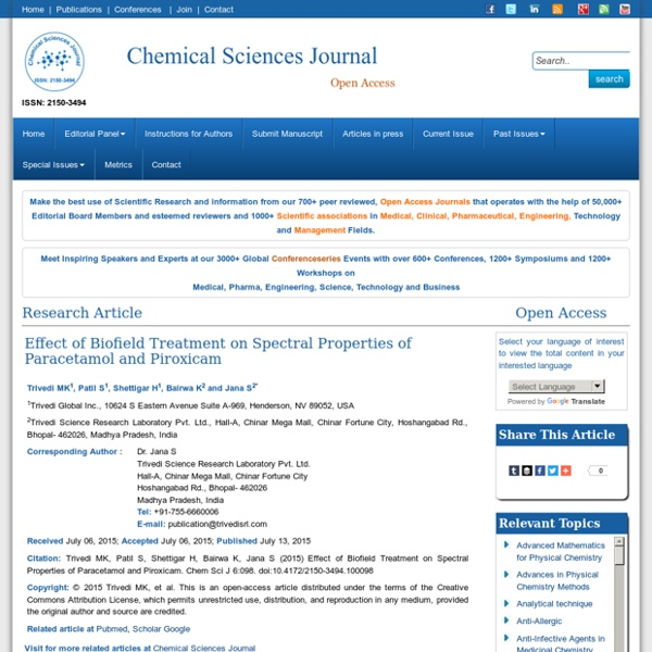 Biofield Effect on Spectral Properties of Paracetamol and Piroxicam