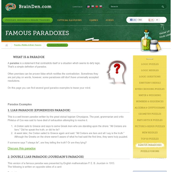 Famous Paradoxes | Pearltrees