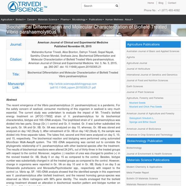 Study of Vibrio Parahaemolyticus Biochemical Reactions