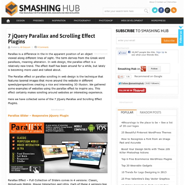 7 jQuery Parallax and Scrolling Effect Plugins
