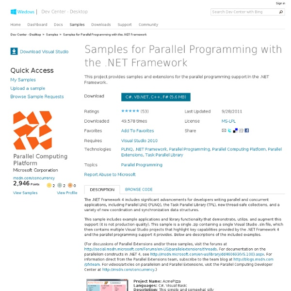 Samples for Parallel Programming with the .NET Framework