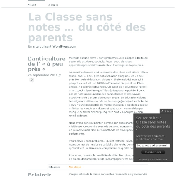 La Classe sans notes … du côté des parents