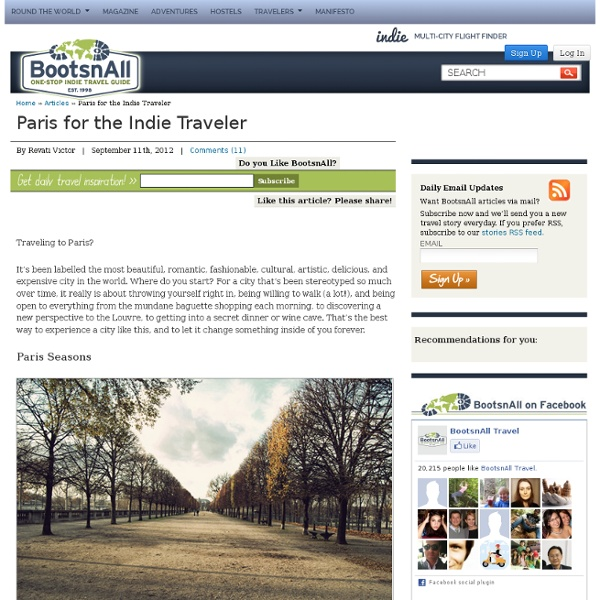 Paris for the Indie Traveler
