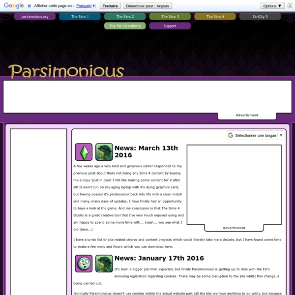Parsimonious - Free Downloads The Sims, The Sims 2 & The Sims 3 - Clothes,Furniture,Houses, Hair, Makeup