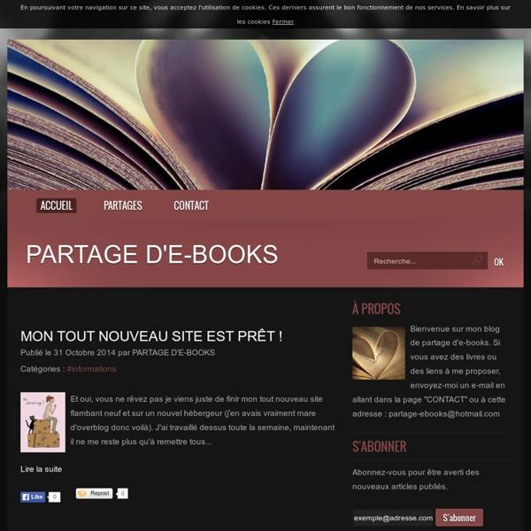 """PARTAGE D'E-BOOKS - Bienvenue sur mon blog de partage d'e-books fantasy. Si vous avez des livres ou des liens à me proposer, envoyez-moi un e-mail en allant dans la page """"CONTACT"""""""