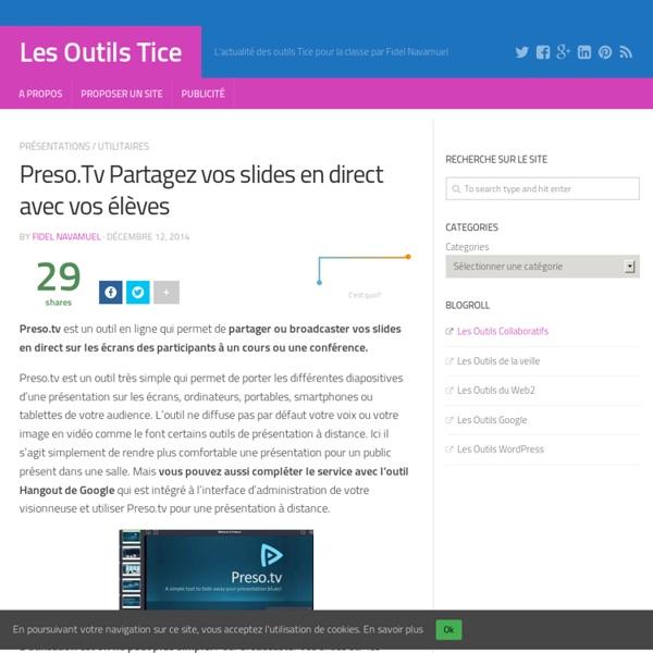 Preso.Tv Partagez vos slides en direct avec vos élèves – Les Outils Tice