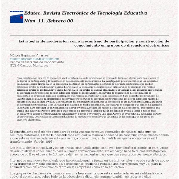 Estrategias de moderación como mecanismo de participación y construcción de conocimiento...