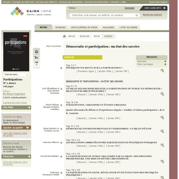 Revue Participations 2011/1, Démocratie et participation : un état des savoirs