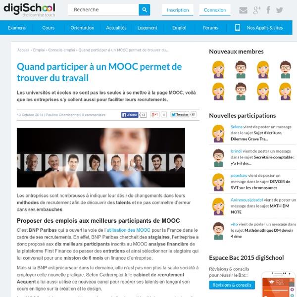 Participer à un MOOC et se faire remarquer pour un emploi