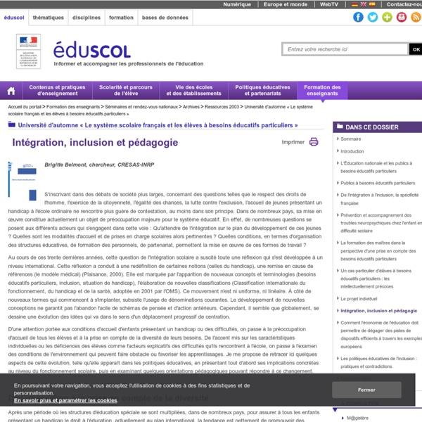 Intégration, inclusion et pédagogie