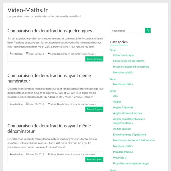 Vidéo-Maths : Des exercices de Maths en vidéos entièrement gratuits !